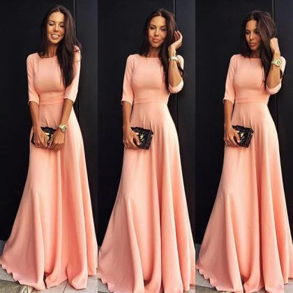 Slim Pure Color 3/4 Sleeves Pleated Long Maxi Dress
