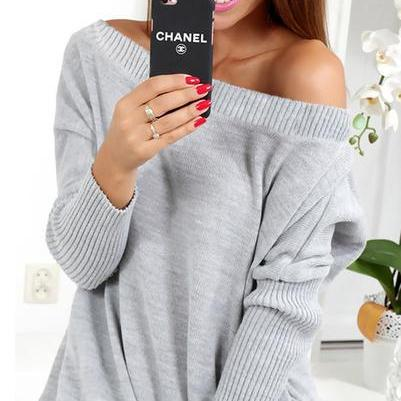 Off Shoulder Long Lantern Sleeves Pure Color Long Sweater
