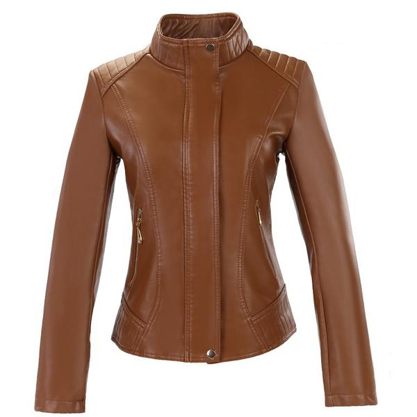 Long Sleeves High Neck Pure Color Slim Jacket