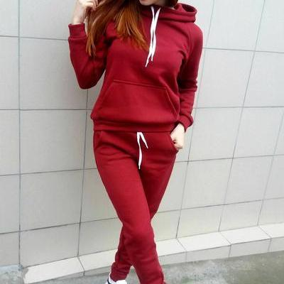 Pure Color Loose Hoodie with Skinny Pants Two Pieces Set