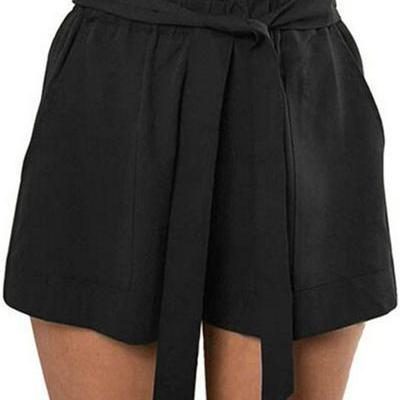 Pure Color High Waist Straps Belt Loose Shorts