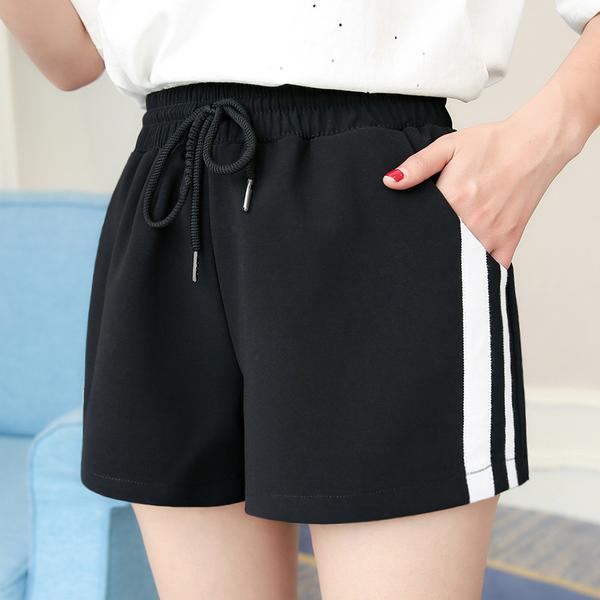 High Waist Patchwork Sport Loose Shorts