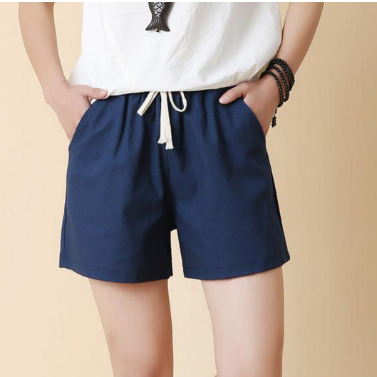 Casual Pure Color High Waist Loose Shorts