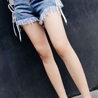 Rough Edge Bandage High Waist Denim Loose Shorts