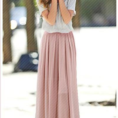 High Waist Pure Color Loose Long Chiffon Skirt