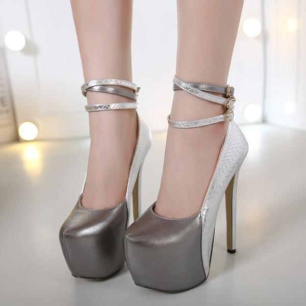 Platform Ankle Wraps Round Toe Super High Heels