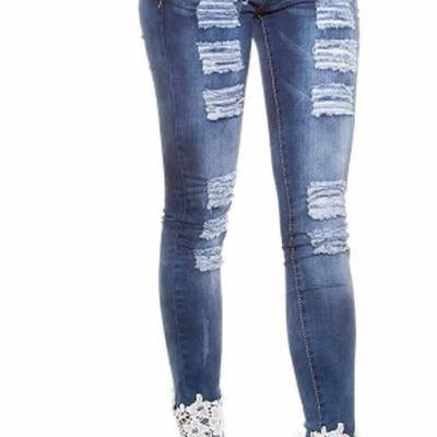 Lace Patchwork Rough Hollow Out Long Skinny Jeans Pants