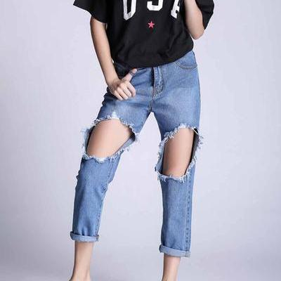 Pure Color Regular Waist Hole Slim 3/4 Denim Pants