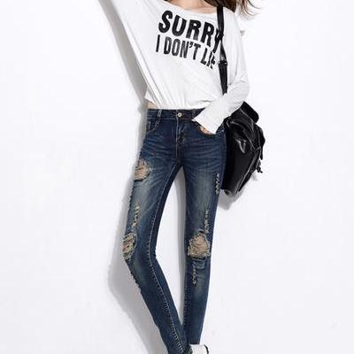 Beggar Style Knee Rough Holes Long Pencil Skinny Jeans