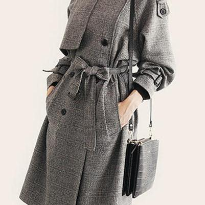 Plaid Lapel Collar Strap Belt Button Decorate Long Coat
