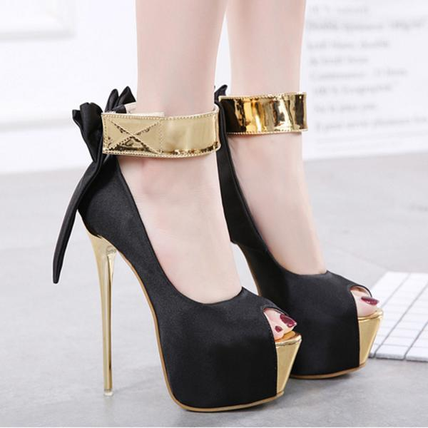 Bowknot Platform Peep-toe Ankle Wrap Stiletto Super High Heels Sandals