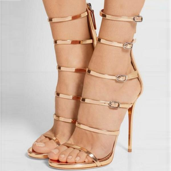Hasp Straps Ankle Wrap Open Toe Zipper High Heels Sandals