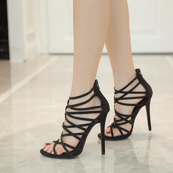 Straps Cross Open Toe Back Zipper Stiletto High Heels Sandals