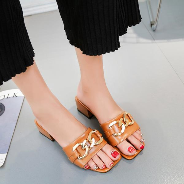 Square Open Toe Chain Decorate Chunky Heels Slippers Sandals