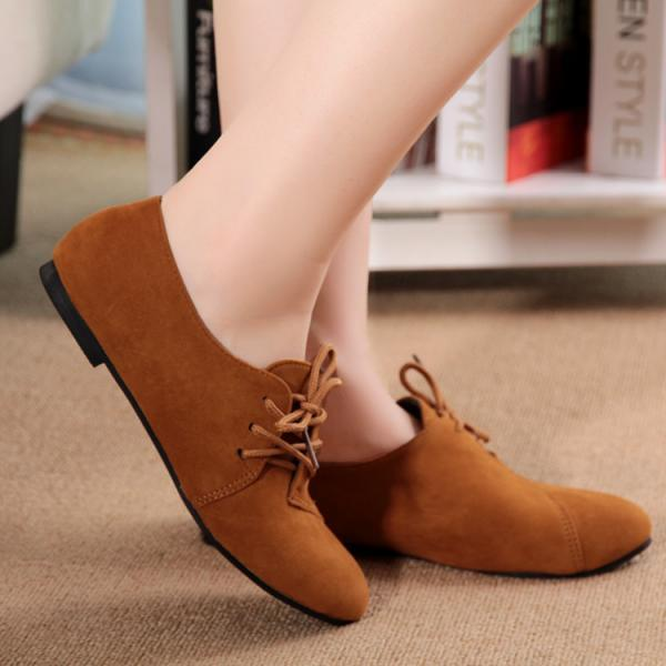 Solid Color Round Toe Lace Up Flat Short Boot Shoes