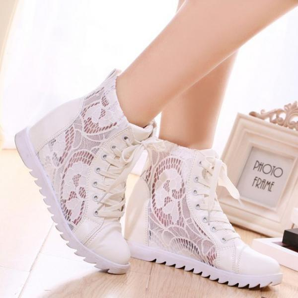 Lace Patchwork Lace Up Insider Heels Casual Shoes