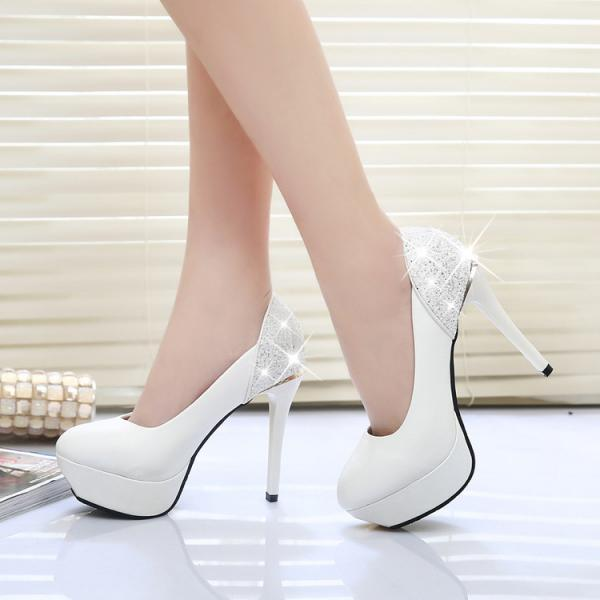 Sequins Shinning Pointed Toe Platform Stiletto High Heels Prom Shoes