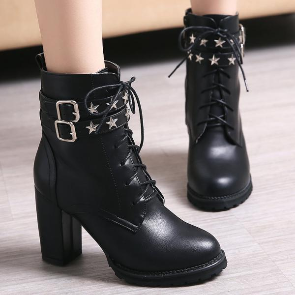 Rivets Hasp Lace Up Round Toe High Chunky Heels Short Boots