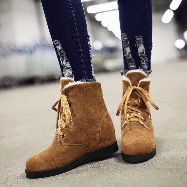 Warm Suede Round Toe Lace Up Short Martin Boots