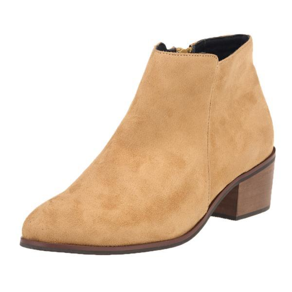 Faux Suede Pointed-Toe Chunky Heel Ankle Boots