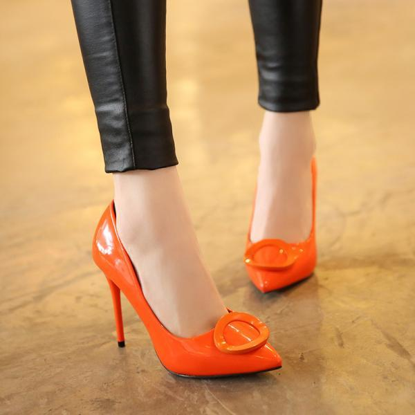 Candy Color Hasp Pointed Toe Low Cut Stiletto High Heels Party Shoes