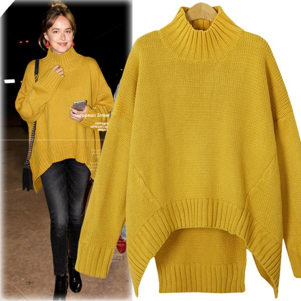 Solid Color High Neck Irregular Loose Sweater