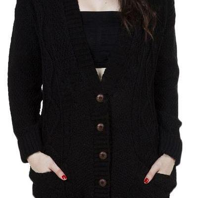 Buttons V-neck Pockets Batwing Sleeves Loose Cardigan