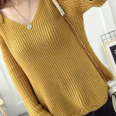 Knitted Plunge V Cold Shoulder Long Flared Sleeves Sweater