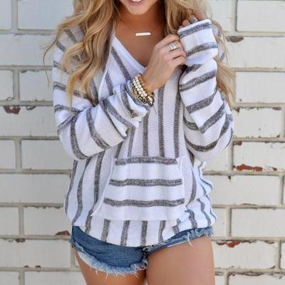 Stripes Pocket V-neck Loose Hooded Sweater