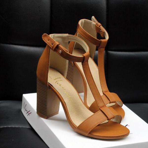 Black / Brown T-Strap Chunky Block Heel Leather Sandals