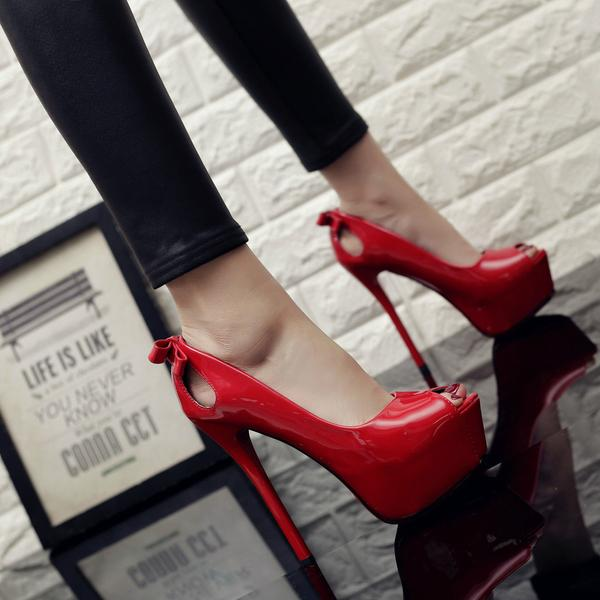 Cut Out Back Bowknot Peep Toe Platform Stiletto High Heels