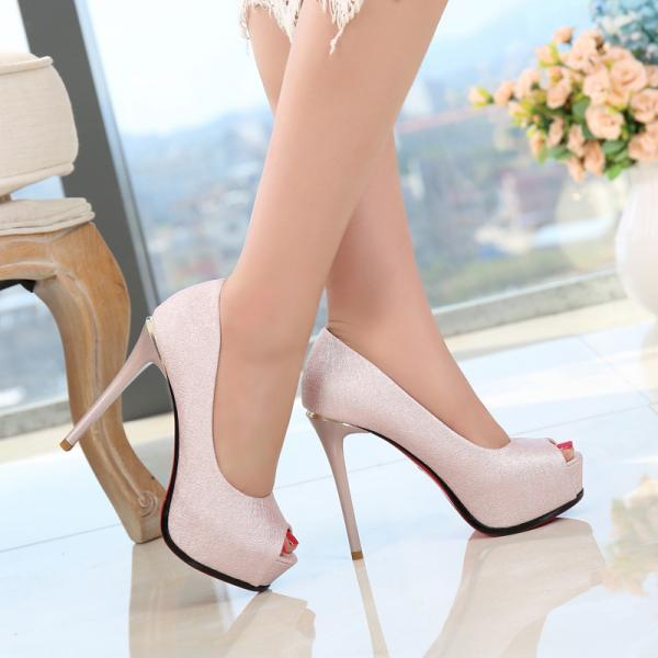 Pure Color Peep Toe Platform Stiletto High Heels Sandals