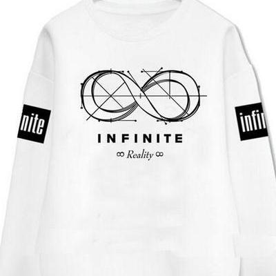 White and Black Round Neck Long Sleeve Infinite Graphic Pullover Sweater