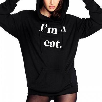Cat Style Letter Print Pocket Long Hoodie
