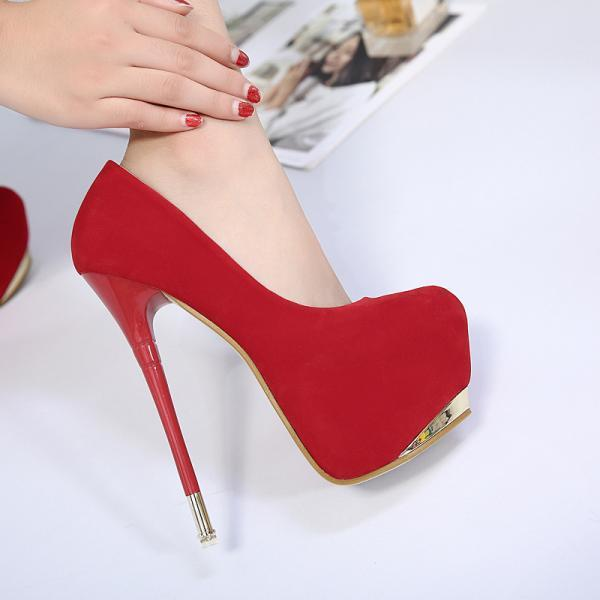 Solid Color Round Toe Low Cut Platform Super High Stiletto Heels Party Shoes