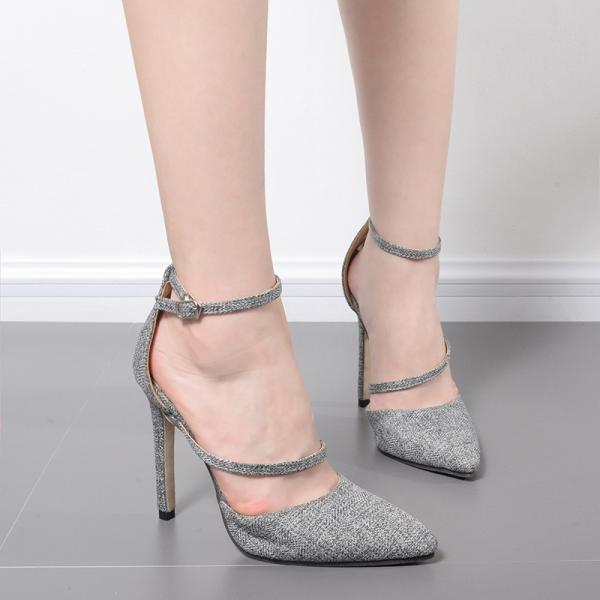 Low Cut Pointed Toe Ankle Wrap Stiletto High Heels Shoes