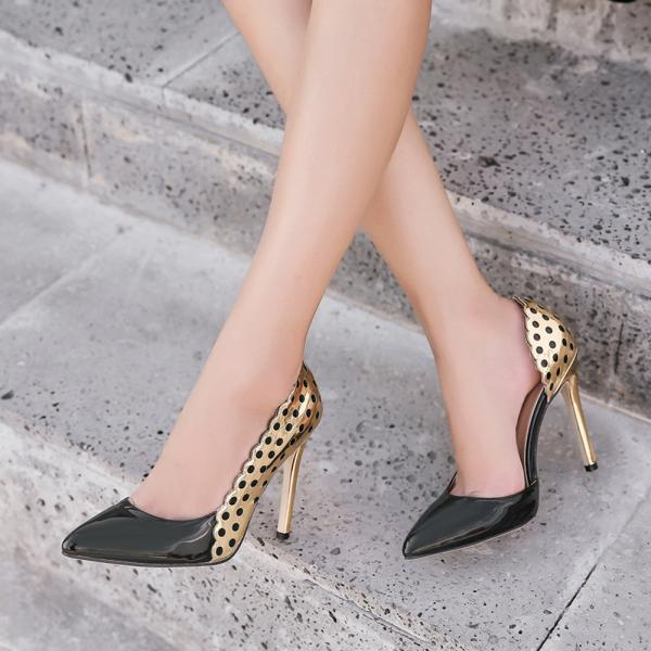 Patchwork Pointed Toe Low Cut Stiletto High Heels Party Shoes