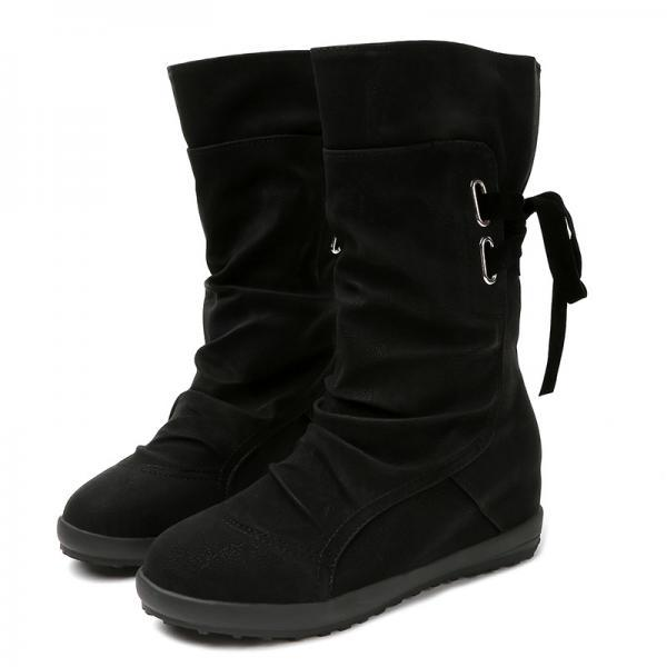 PU Pure Color Slope Heel Round Toe Boots