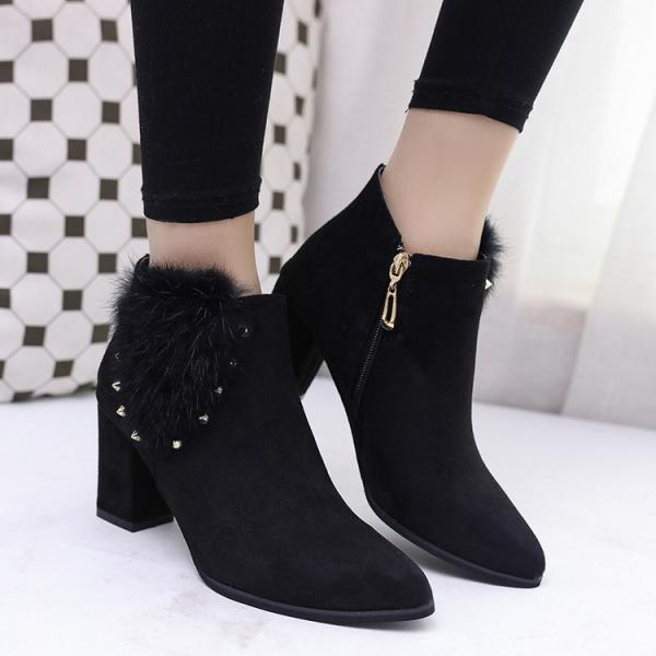 Suede Pure Color Chunky Heel Round Toe Rivets Zipper Boots