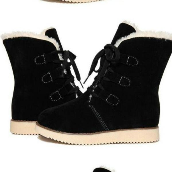 Flat PU Pure Color Round Toe Short Boots