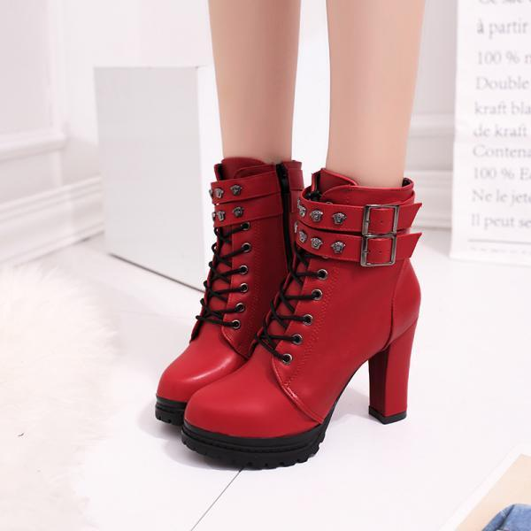 PU Pure Color Chunky Heel Round Toe Lace-Up High Heel Boots