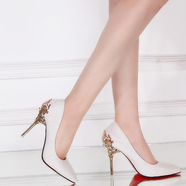 Pointed-Toe High Heel Stilettos Featuring Metal Encrusted Filigree