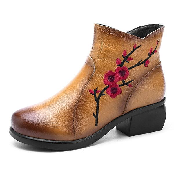 Women Fashion Retro Plum Blossom Pattern Zipper Ankle Leather Boots