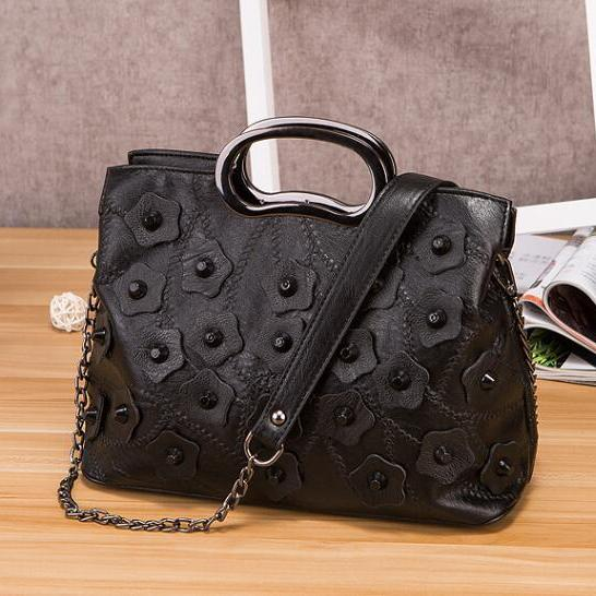 Unique European Rivets Flower Decoration Satchel