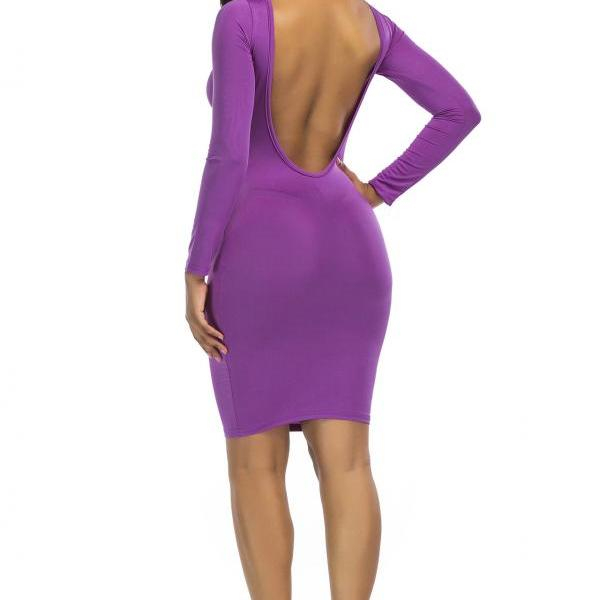Sexy Pure Color Backless Sheath Bodycon Long Sleeve Dress