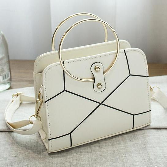 Geometric Pattern Circle Metallic Handle Satchel