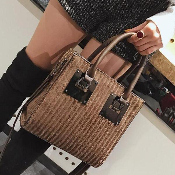 Occident Style Color Block Zipper Tote Bag