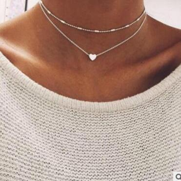 Hearts Multilayer Copper Clavicle Necklace