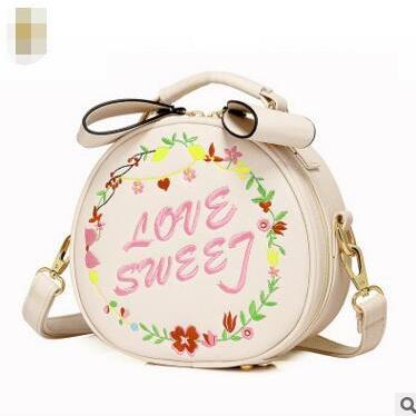 Lovely Circular Embroidery Crossbody Bag