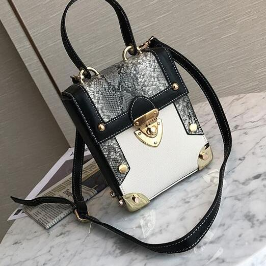 Faux Snakeskin Pattern Leather Crossbody Bag